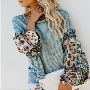 New Bohemian pattern textured Thermal Knit Top